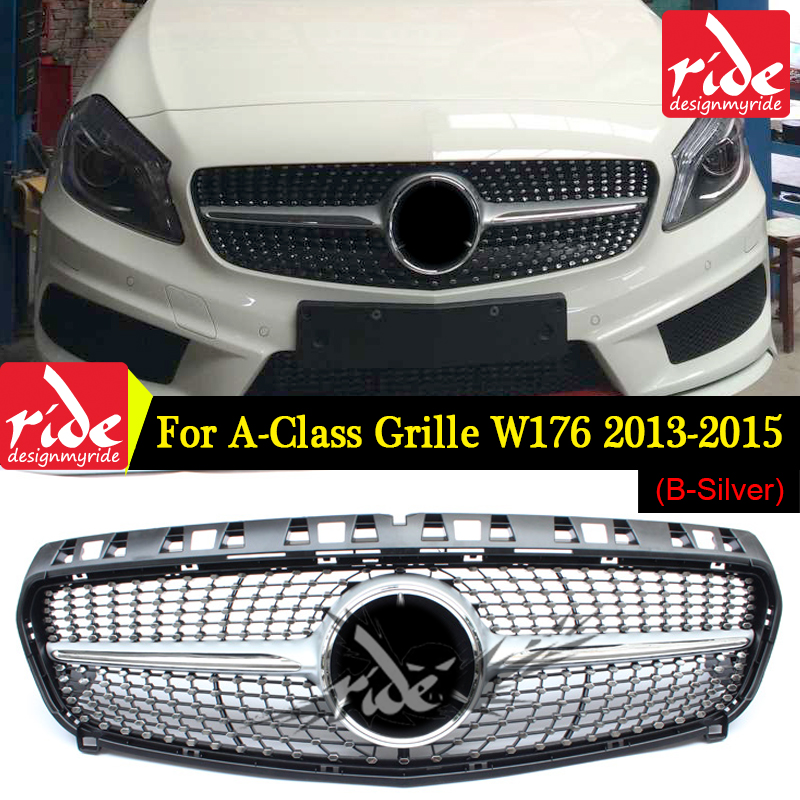 Diamond Front Grille Suitable for Mercedes Benz A CLASS W176 a180 200 a250 260 A45 2013 15 Auto Racing Grill Without centre logo
