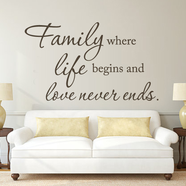 family where life begins and love never ends wall sayings door vinyl