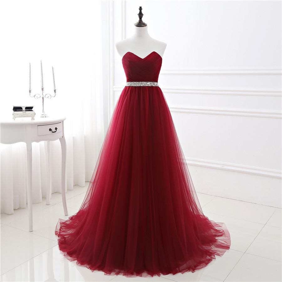 2017 New In Stock A Line Soft Tulle Dark Red Prom Dress