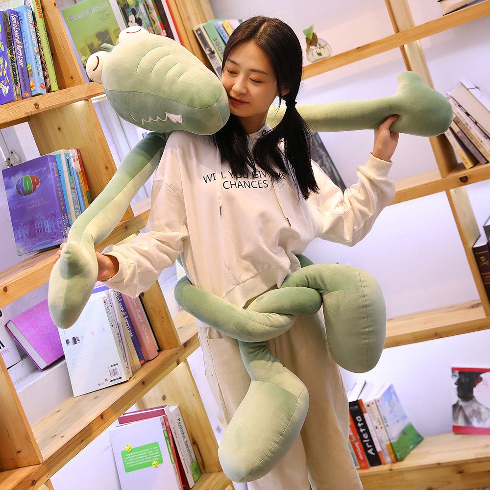 New1pc 80 130cm Long Legs Crocodile Plush Toys Funny Lifelike Alligator Doll Kids Lovely Toy Soft Stuffed Pillow Home Decoration in Stuffed Plush Animals from Toys Hobbies