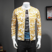 Luxury Gold Paisley Print Jacket Black Gold Prom Party Club Outfit Bomber Jackets Men Casaca Hombre