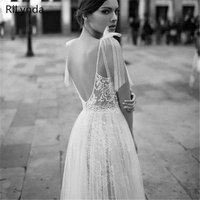 NEW High Slits Wedding Dresses Backless Bohemia Sexy Spaghetti Neckline Lace Appliqued Bridal Gowns Plus Size Wedding Dres 2