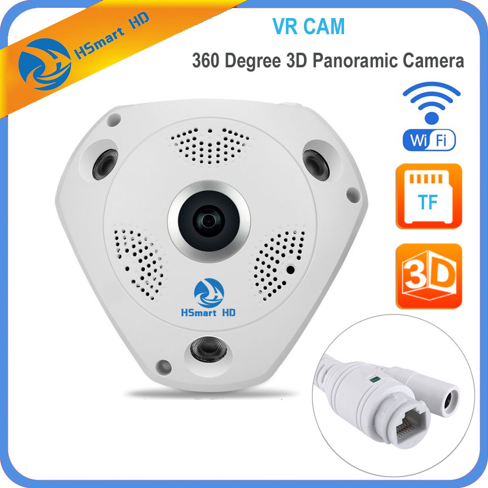 цена на HSmart HD 1280*960 360 Degree Fisheye Panoramic Camera Wireless 3D VR Panorama HD IP Camera P2P Indoor Cam Security WiFi Camera