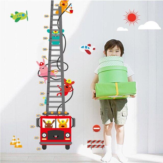 Animals Fire Truck Height Measure Wall Sticker Children Grows Up