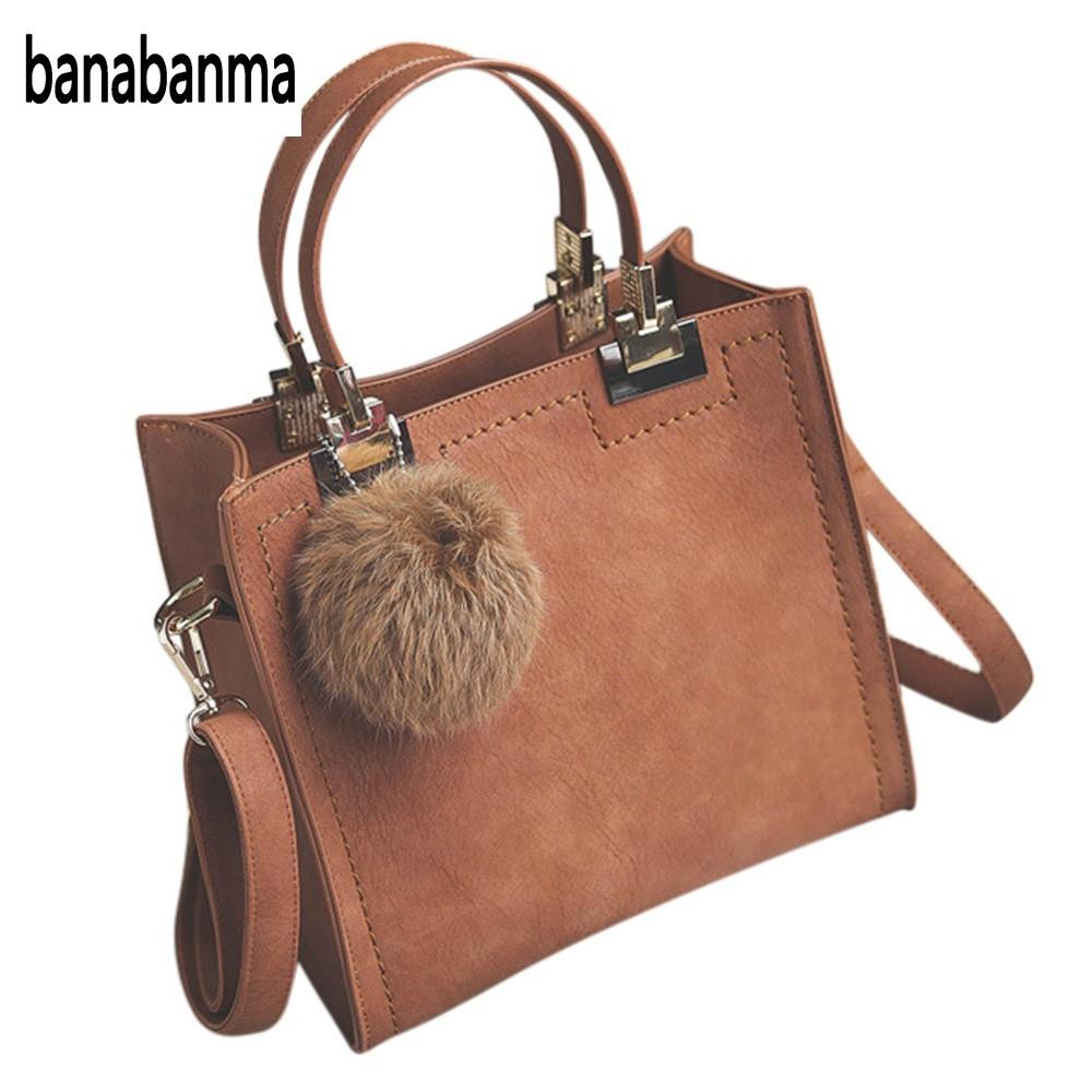 banabanma Fashion PU leather handbag Women Casual Large Tote Bag Lady Shoulder Messenger Bags With Fur Ball Office Ladie ZK30 купить