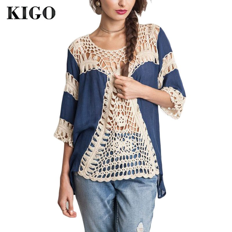Detail Feedback Questions about KIGO Woman Boho Summer Tops Hollow Out Sexy  Bohemian Crochet Blouse Long Sleeve Beach Tops Casual Women Tops KF10668H  on ... eeb70511cd00