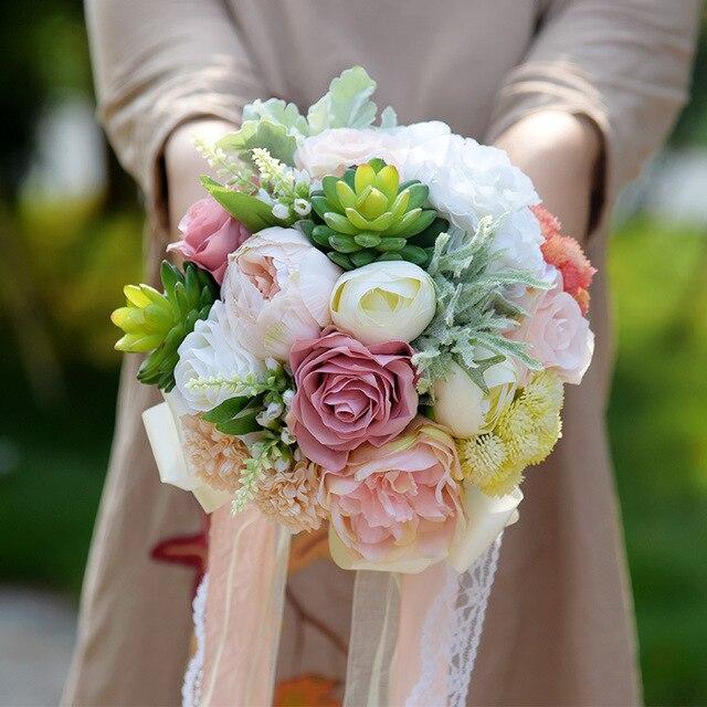 Свежие Искусственные Суккуленты Букет Невесты Шелковый Атлас Кружево Ленты Цветок Розы bruidsboeket suculentas artificiais Лес Стиль