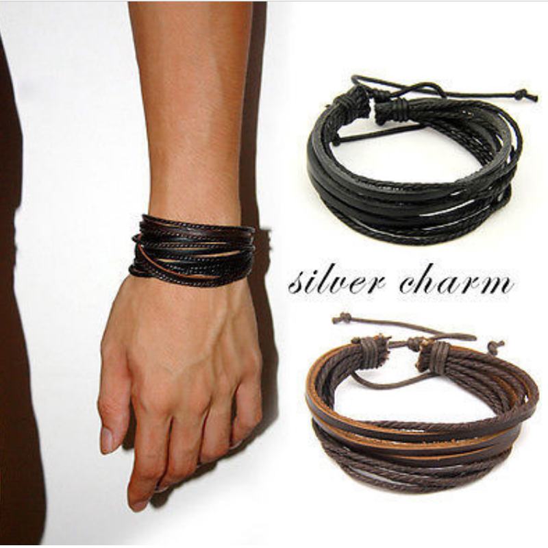 Hot Sale Unisex Multilayer Charm Surfer Tribal Wrap Bangle Genuine Leather Bracelet For Men Women Jewelry Accessories