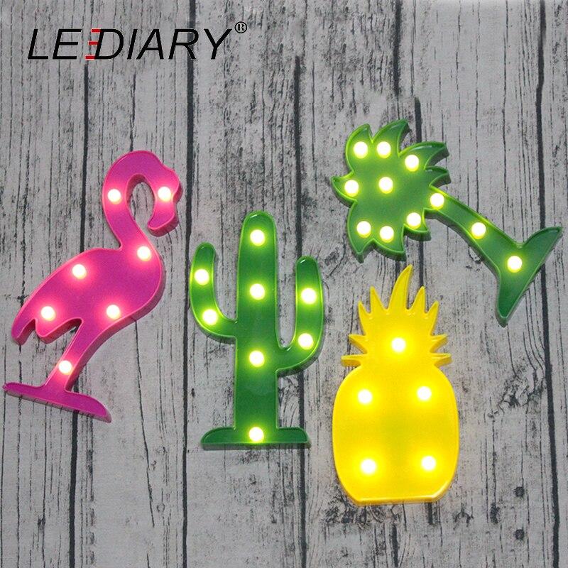 LEDIARY Hot Sale 3D LED Night Light Cactus Flamingo Coconut Tree Pineapple Shape Novelty Marquee Sign Bedside Lamp Battery AA