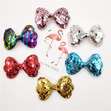 30pcs/lot Sequin Bowknot Shape Padded appliques for headwear decoration handmade hair accessories