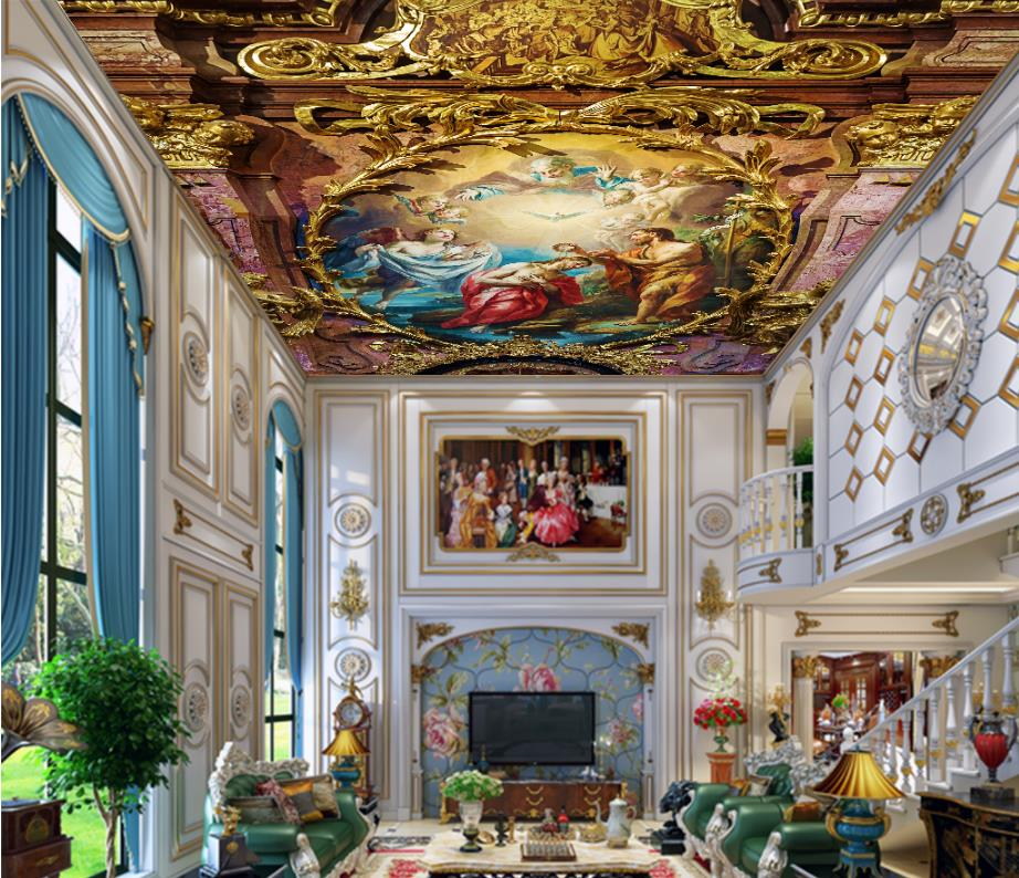3d ceiling classical oil painting angel wallpaper murals for Angel wall mural