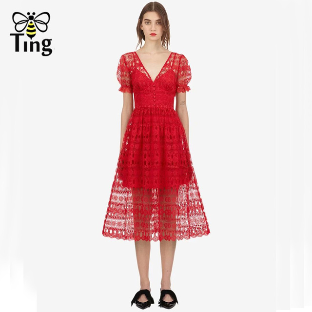 Tingfly 2018 New arrival Self Portrait Runway red long midi dress Women  Summer short sleeve Sexy backless lace Dresses vestidos 493af80cfa61