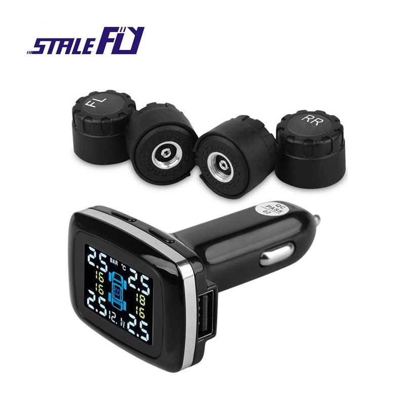 Digital TPMS Car 12V Tire Pressure Monitoring System Alarm USB Charging Port with DOS Display Voltage