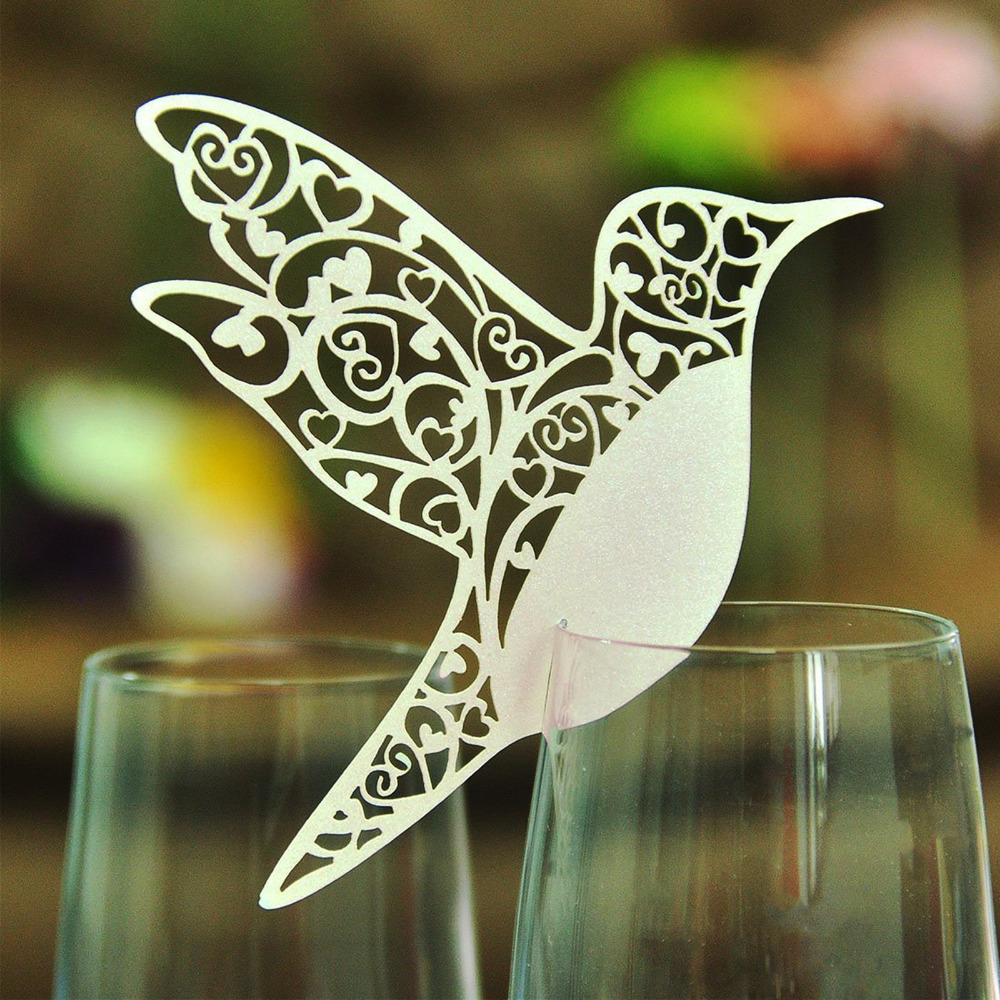 50pcs DIY Place Card Flying Birds <font><b>Cups</b></font> Glass Wine <font><b>Wedding</b></font> Name Cards Laser Cut Pearlscent Paper Cards Birthday Party Decoration