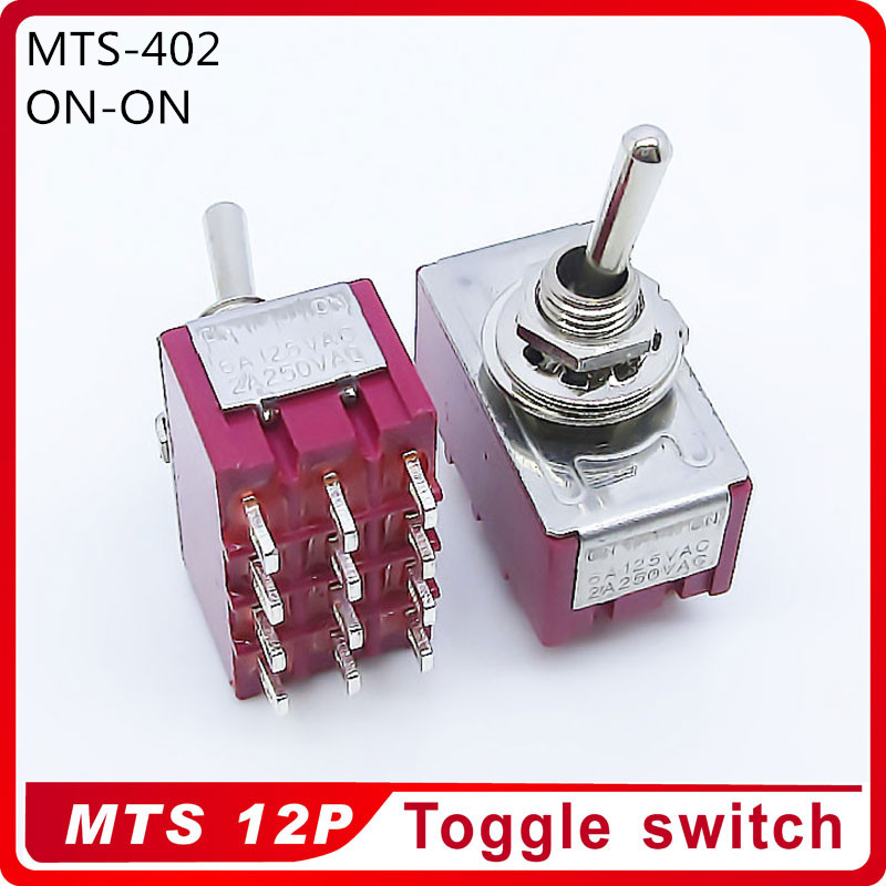 Wholesale 100pcs MTS 402 ON ON 2 Position Latching 2A250VAC 5A125VAC Power 12pin Toggle Switch Excellent
