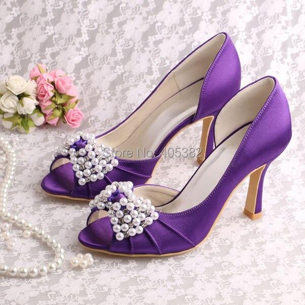 ФОТО Wedopus Custom Color High Quality High Heel Bridal Shoes Purple Satin Open Toes Size 8