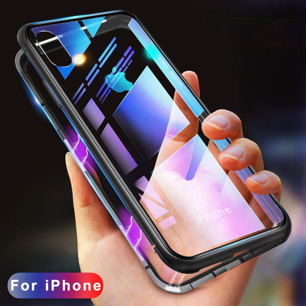 100PCS Metal Frame Magnetic Adsorption Tempered Glass Phone Case For iPhone X XR XS MAX for