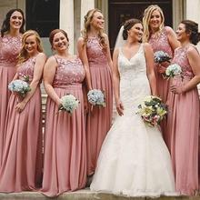 Lace Appliques Chiffon Plus Size Long African Maid Of Honor Formal Wedding party gown 2018 Cheap Dusty Pink Bridesmaid Dresses