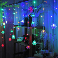 CHASANWAN 3 5m 96lights Ice LED Strip Light Snowflakes Garland New Year S Ornaments Christmas Decorations