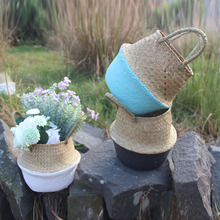 1 Pcs Seagrass Flower Basket Woven Multifunctional Flowerpot for Storage Plants Hot Sale