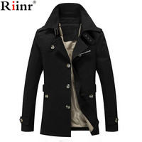 Riinr Men Jacket Coat Long Section Fashion Trench Coat Jaqueta Male Veste Homme Brand Casual Fit