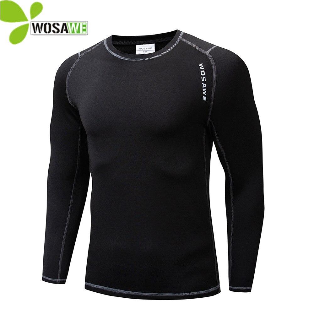 WOSAWE Winter Thermal Fleece Cycling Base Layer Bike Bicycle Clothing Sports Shirts Long Johns Sportswear Compression Underwear
