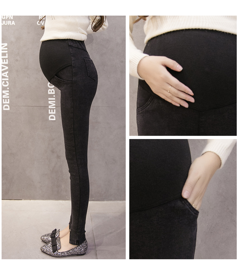 2018Maternity Jeans For Pregnant Women Pregnancy Winter Warm Jeans Pants Maternity Clothes For Pregnant Women Nursing Trousers