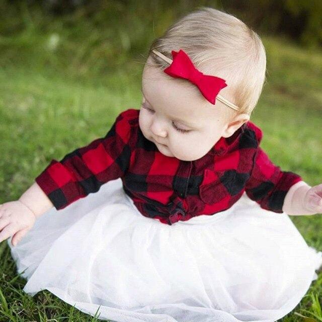 ad1c54c1df 2 sztuk Dziewczynek Ubrania Zestaw Maluch Długim Rękawem Red Plaid T-shirt  + Biały Spódnica Dziewczyny Nowy Rok ubrania Ustawić Wiosna Dziewczyny  Koszule