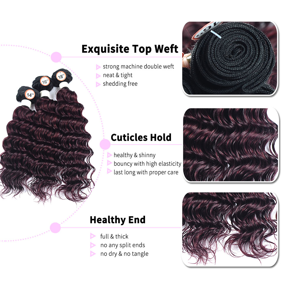 peruvian ombre hair 3 bundles with closure deep wave bundles 1B red Burgundy human hair bundle with lace closure nonremy pinshai