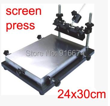 Free shipping Single color manual flat screen printing machine (24cmx30cm) aluminum plate High quality free shipping discount single color manual flat screen printing machine 32cmx44cm aluminum plate high quality
