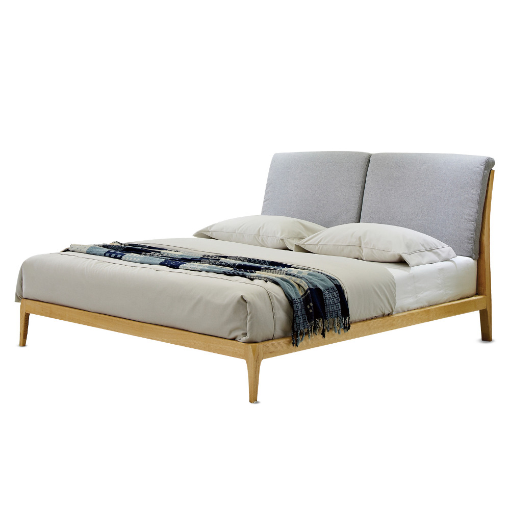 11022H211 Original Nordic style Modern minimalist wedding king size All solid wood large bed frame