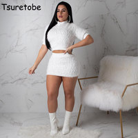 Tsuretobe Warm Wool Two Piece Set Women Short Sleeve Pullover Top And Skirt Set New Winter Elegant Knitted Tracksuit Slim Female
