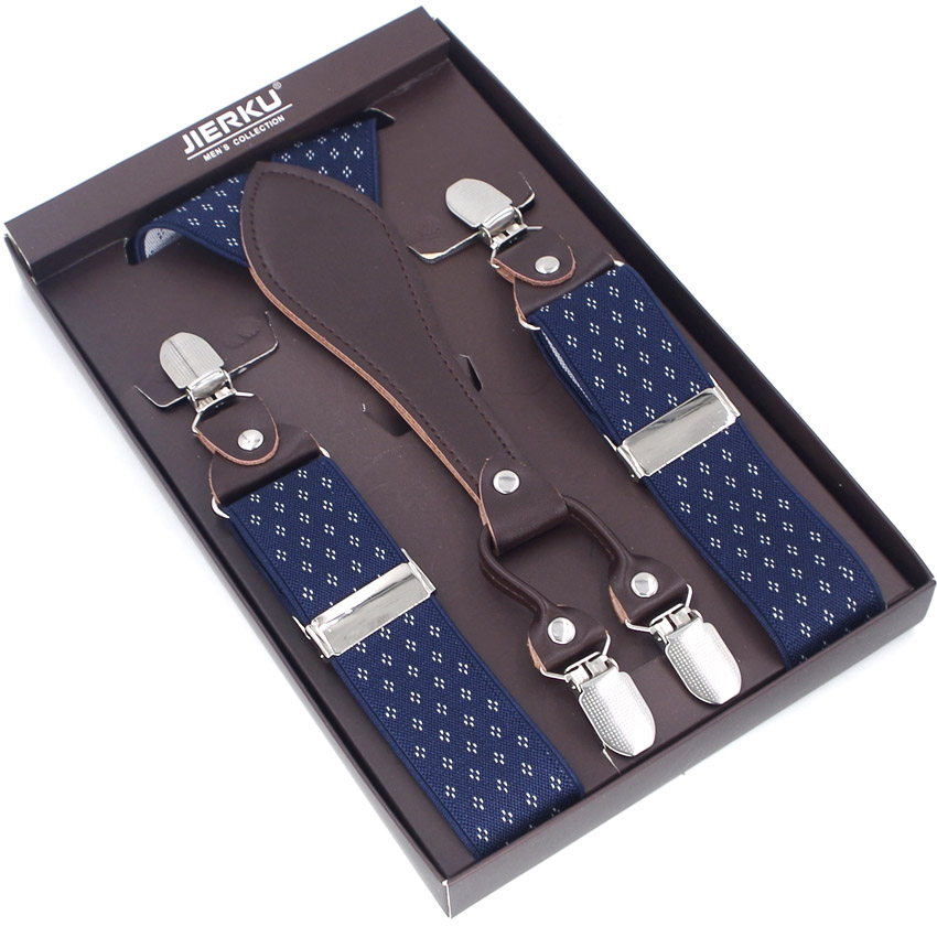 Classic Suspenders Leather 4 Clips Braces Male Vintage Casual  Suspensorio Trousers Strap Father/Husband's Gift  Without Box