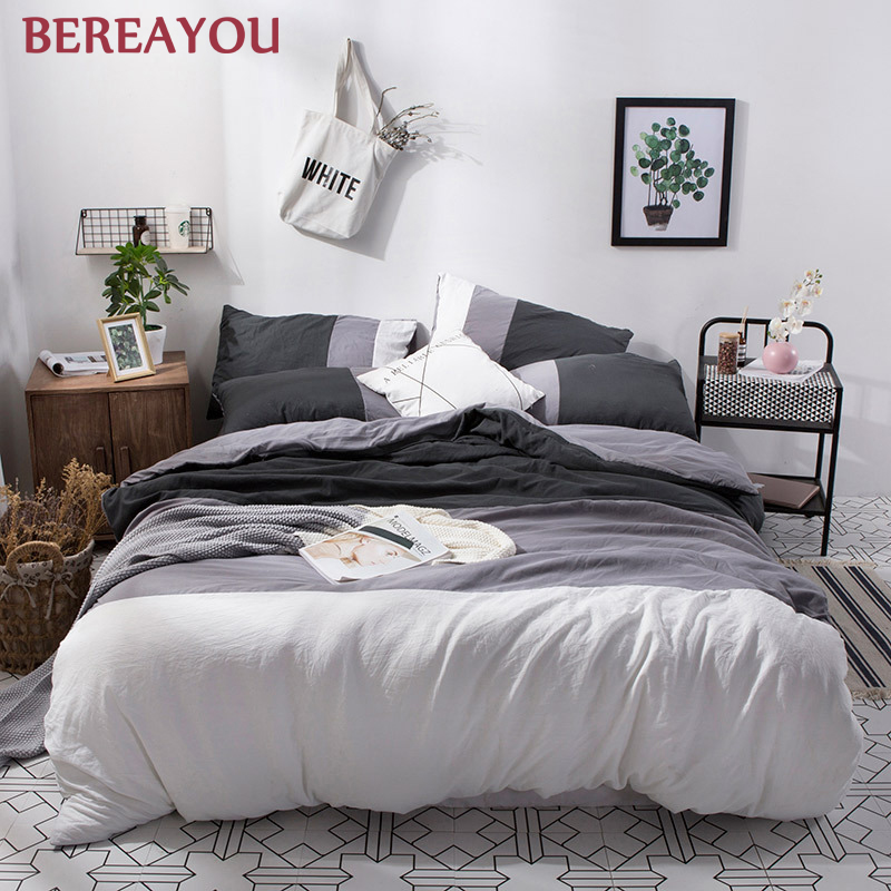 Japanese Bedding Sets Polyester Solid Color Bed Sheet Pillowcase Twin Full Queen Size Washed Cotton Bedding Set Jogo De Cama