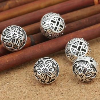 Handmade 925 silver good luck symbol beads sterling silver flower beads jewelry beads diy bracelet beads фото