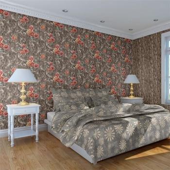 High-end European pastoral AB version of wallpaper embossed wallpaper living room bedroom background wallpaper papel de parede