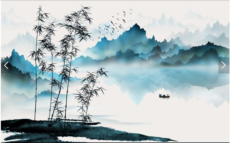 Custom Chinese Painting Wallpaper Mountain And Water Boat Bamboo Ink For Living Room TV Sofa Background Wall Paper In Wallpapers From Home