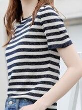 M ice silk sweater female spring 2019 new loose thin slim stripes summer short-sleeved
