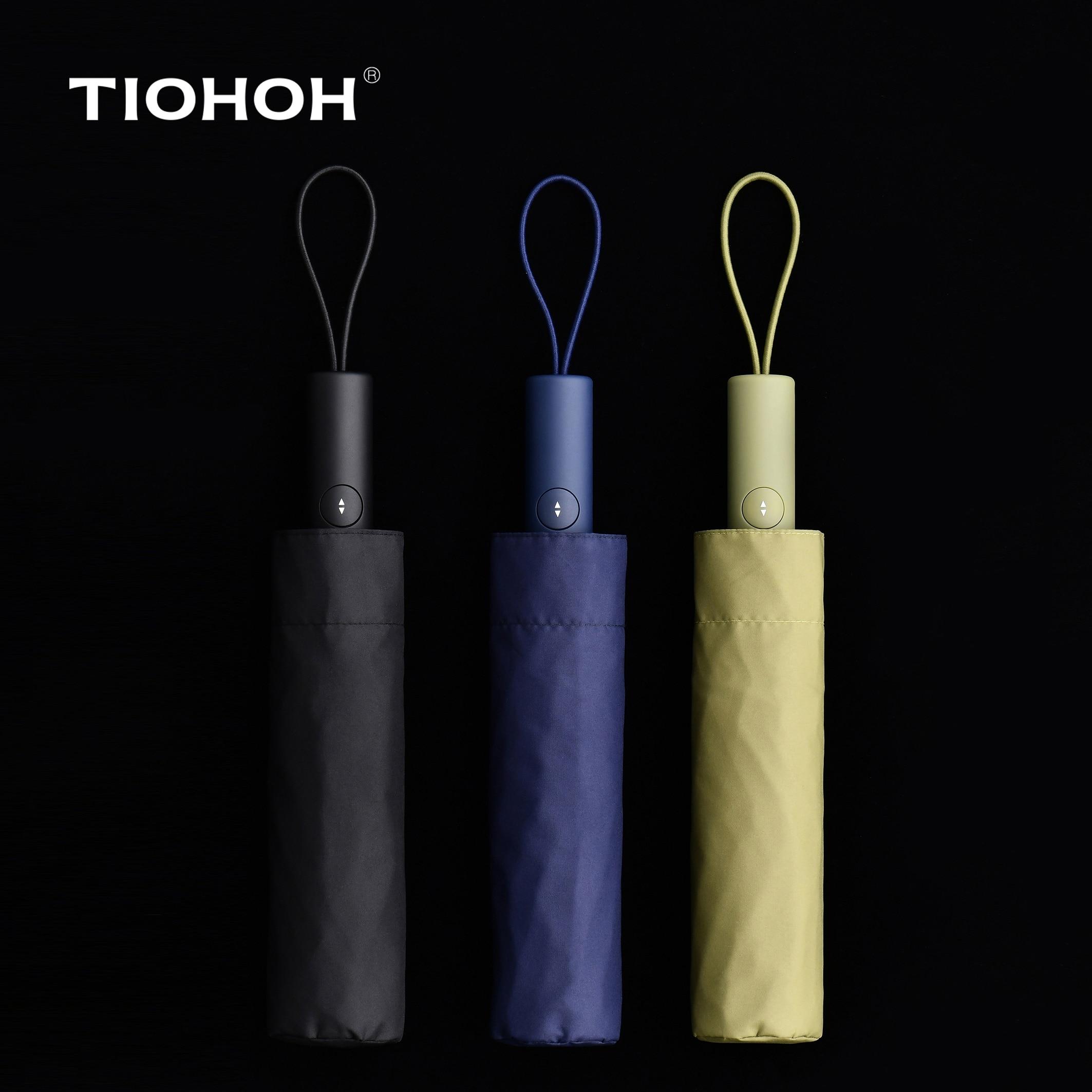 Tiohoh T3 Série Automatique Parapluie Hommes Femmes 190 T Téflon Pongé Tissu Pliant Pluie Parapluie Coupe-Vent 8 K Simple Paraguas mâle