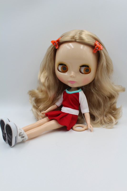 Factory Blyth Doll Nude Doll Short Brown Curly Hair With