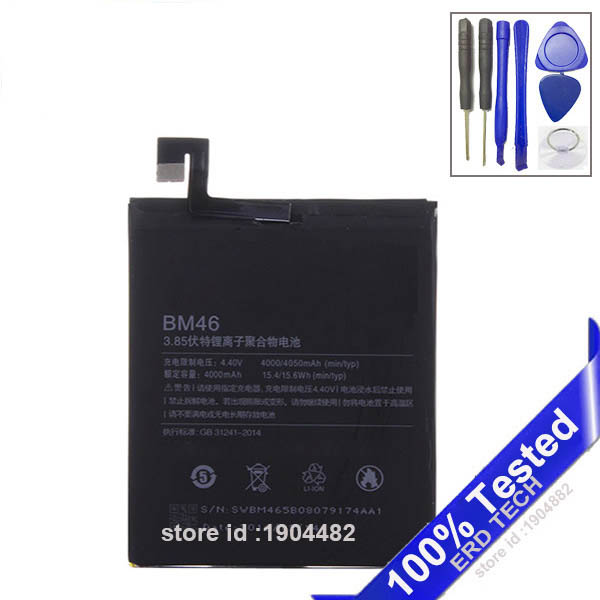 Battery For Xiaomi Redmi Note 3 / Note 3 Pro BM46 4000mAh Battery  Bateria