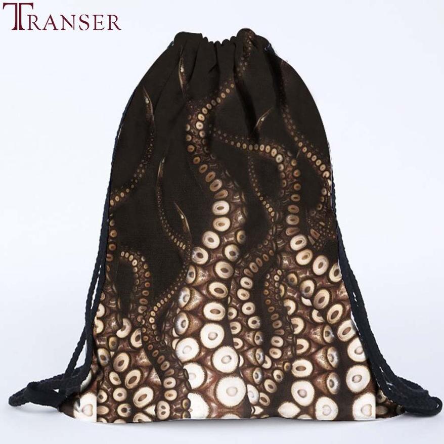 Transer Fashion Unisex Women Octopus Backpacks 3D Printing Bags Drawstring Backpack drop shipping  WU1