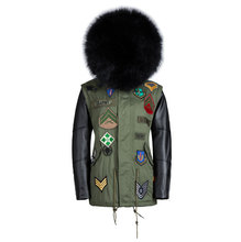 Men's leather sleeve faux furs jacket with black fur lining male genuine leather jacket men coats