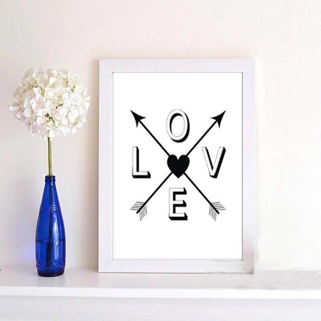 Schwarz Weiß Modern Motivation Liebe Leben Zitate Kunstdruck Poster  Minimalistischen Typografie Wandkunst Schlafzimmer Leinwand Malerei Decor