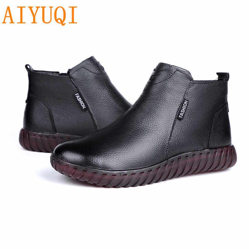 AIYUQI kadın düz çizmeler 2020 yeni 100% doğal hakiki deri kadın yarım çizmeler, rahat ve rahat anne bot ayakkabı