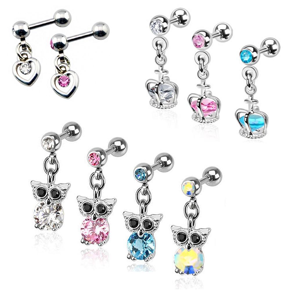 Crystal Cz Gem Heart Dangling Crown Design Owl Pendant Earring Stud Tragus Helix  Cartilage Piercing Jewelry
