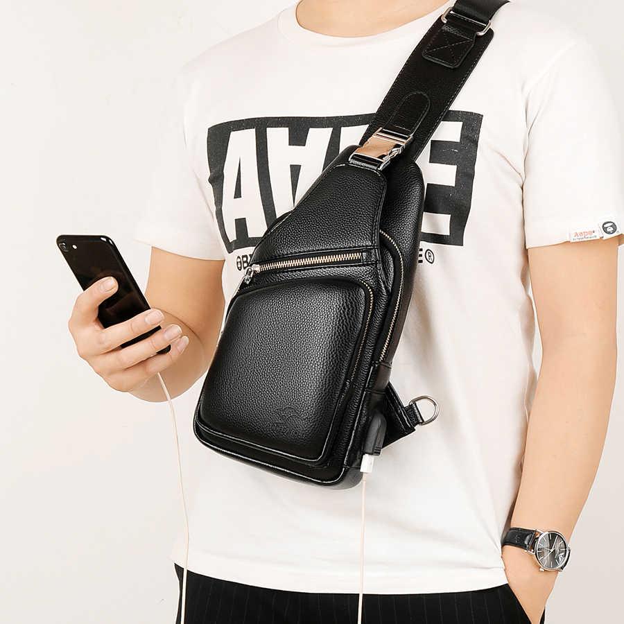 2018 Jackkevin ファッションメンズショルダーバッグ盗難防止黒革メンズチェストバッグ USB 充電クロスボディバッグ旅行バッグ