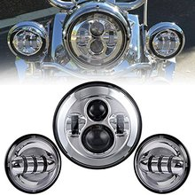 "For Harley Daymaker 7"" Round LED Headlight + 2pcs 4-1/2"" Auxiliary Spot Fog Passing Light – Chrome / Black"