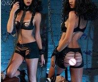 YQ80 Moda 2017 Mulheres Bra & Sets Breve Lingerie Conjunto de Sutiã Aberto Trajes sensuais Mulheres Push Up Preto Virilha Aberta 3 Peças Conjunto de Sutiã