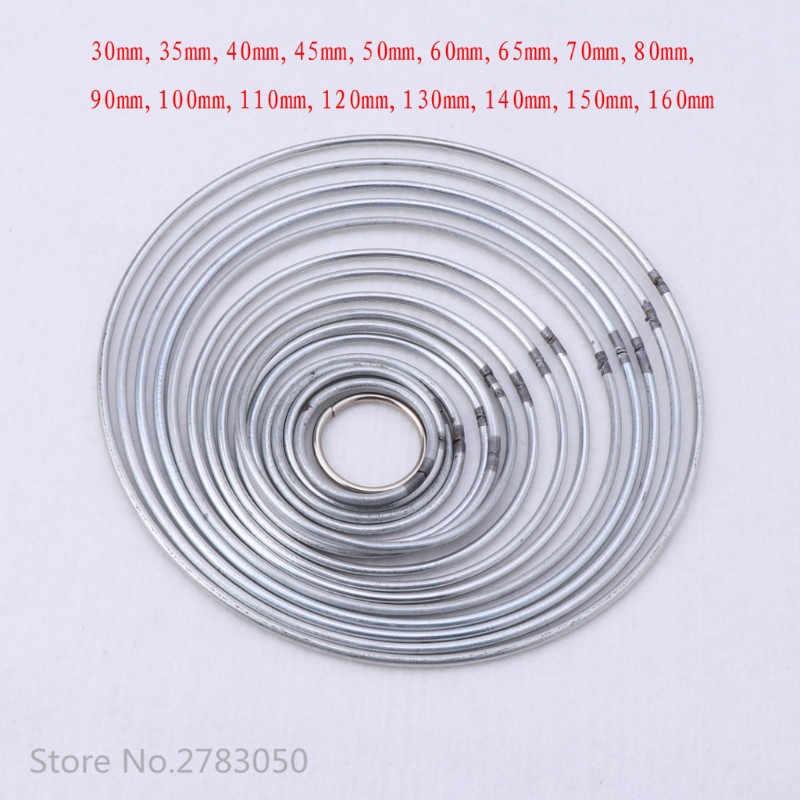 30-160 มิลลิเมตร 17 ขนาดรอบโลหะ Hoop Silver Dreamcatcher แหวนแขวนผนัง Macrame หัตถกรรม DIY Decor Dream catcher อุปกรณ์เสริม
